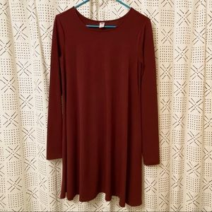 Old Navy Burgundy Long Sleeve A-Line Swing Dress